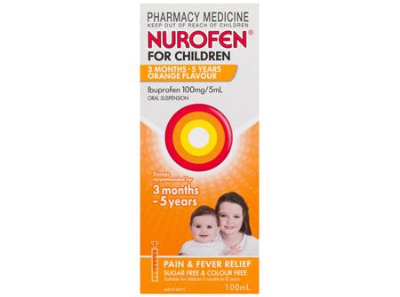 Nurofen For Children 3months - 5years Pain and Fever Relief 100mg/5mL Ibuprofen Orange 100mL