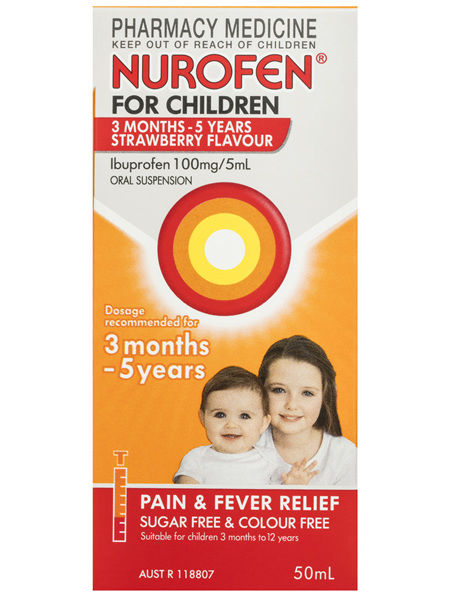 Nurofen For Children 3months - 5years Pain and Fever Relief 100mg/5mL Ibuprofen Strawberry 50mL