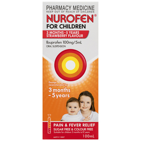 Nurofen For Children 3months - 5years Pain and Fever Relief 100mg/5mL Ibuprofen Strawberry 100mL