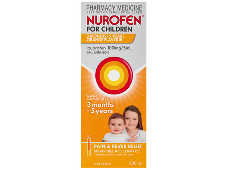 Nurofen For Children 3months - 5years Pain and Fever Relief 100mg/5mL Ibuprofen Orange 200mL