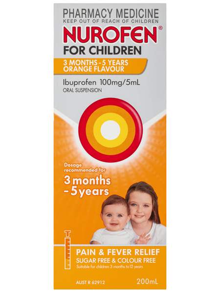 Nurofen For Children 3months - 5years Pain and Fever Relief 100mg/5mL Ibuprofen Orange 200mL