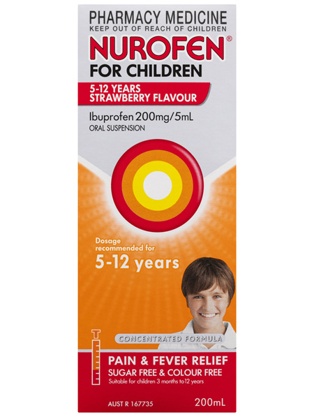 Nurofen For Children 5-12yrs Pain and Fever Relief Concentrated Liquid 200mg/5mL Ibuprofen