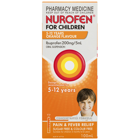 Nurofen For Children 5-12yrs Pain and Fever Relief Concentrated Liquid 200mg/5mL Ibuprofen Orange