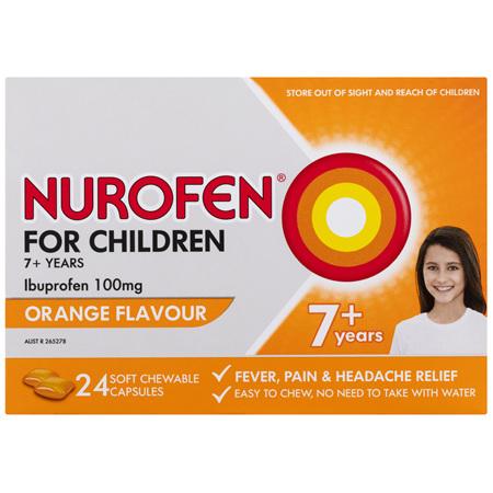 Nurofen For Children 7+ Soft Orange Chewable Capsules 24 Pack