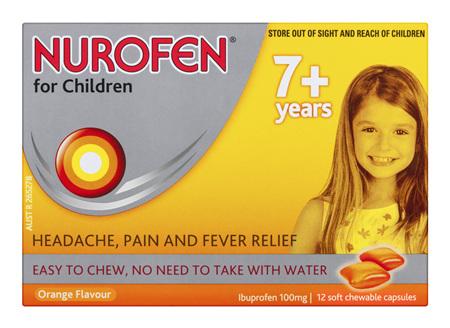 Nurofen For Children 7+ Years Chewable Capsules Pain Relief Orange 12 Pack