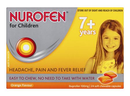 Nurofen For Children 7+ Years Chewable Capsules Pain Relief Orange 24 Pack