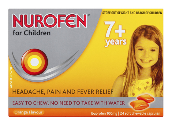 Nurofen For Children 7+ Years Chewable Capsules Pain Relief Orange 24 Pack
