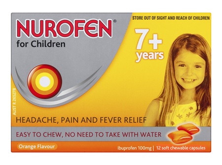 Nurofen For Children 7+ Years Chewable Capsules Pain Relief Orange 12 Pack