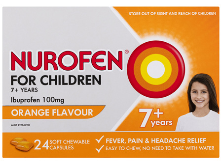 Nurofen For Children 7and Pain and Fever Relief Chewable Tablets 100mg Ibuprofen Orange 24 pack