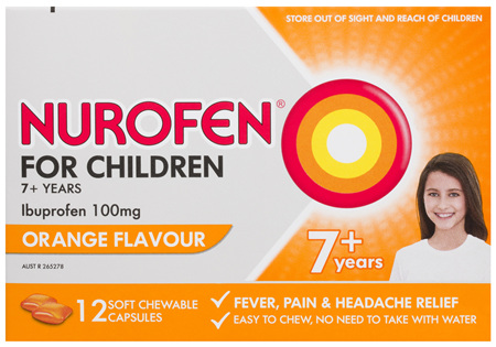 Nurofen For Children 7and Pain and Fever Relief Chewable Capsules 100mg Ibuprofen Orange 12 pack