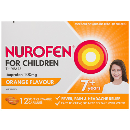 Nurofen For Children 7and Pain and Fever Relief Chewable Tablets 100mg Ibuprofen Orange 12 pack
