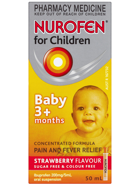 Nurofen for Children Pain And Fever Relief Strawberry Baby 3+ Months 50mL