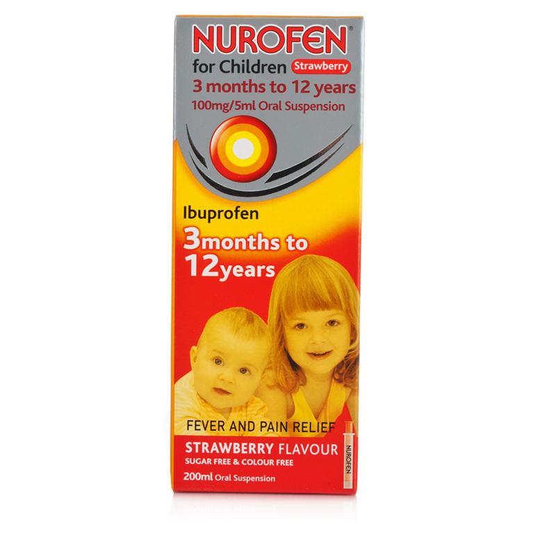 Nurofen For Children Suspension 4 Kids Strawberry 200 ml