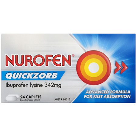 Nurofen Quickzorb Caplets Ibuprofen Lysine 342mg 24 Pack