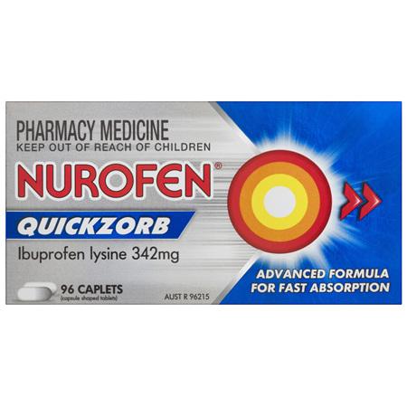 Nurofen Quickzorb Quick Pain Relief Caplets 200mg Ibuprofen 96 pack