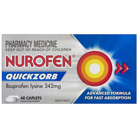 Nurofen Quickzorb Quick Pain Relief Caplets 200mg Ibuprofen 48 pack