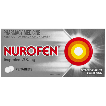 Nurofen Tablets 72s 200mg Ibuprofen anti-inflammatory pain relief