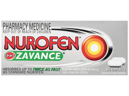 Nurofen Zavance Fast Pain Relief Caplets 256mg Ibuprofen 96 pack