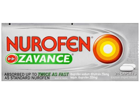 Nurofen Zavance Fast Pain Relief Caplets 256mg Ibuprofen 24 pack