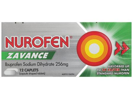 Nurofen Zavance Fast Pain Relief Caplets 256mg Ibuprofen 12 pack