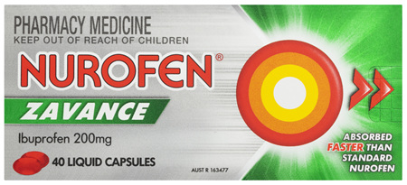 Nurofen Zavance Fast Pain Relief Liquid Capsules 200mg Ibuprofen 40 pack
