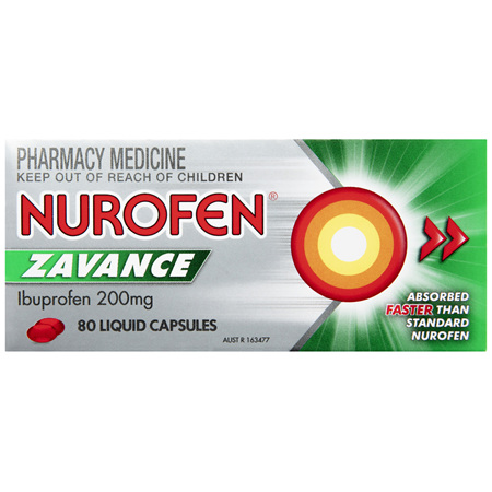 Nurofen Zavance Fast Pain Relief Liquid Capsules 200mg Ibuprofen 80 pack