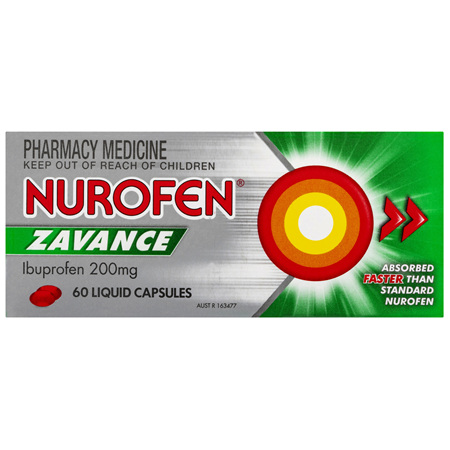 Nurofen Zavance Fast Pain Relief Liquid Capsules 200mg Ibuprofen 60 pack