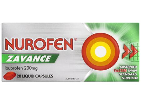 Nurofen Zavance Fast Pain Relief Liquid Capsules 200mg Ibuprofen 20 pack