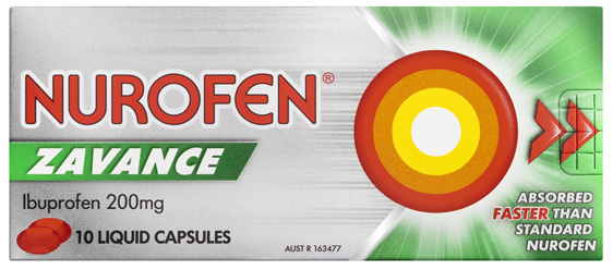 Nurofen Zavance Fast Pain Relief Liquid Capsules 200mg Ibuprofen 10 pack SRP