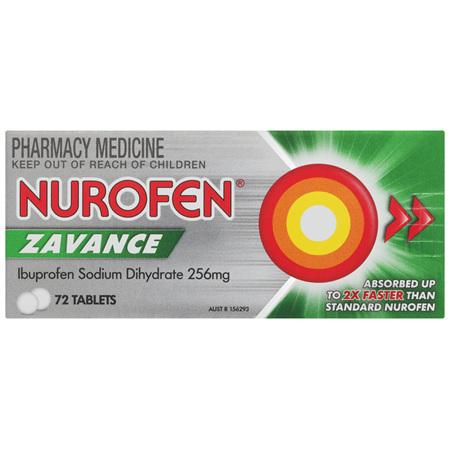 Nurofen Zavance Fast Pain Relief Tablets 200mg Ibuprofen 72 pack
