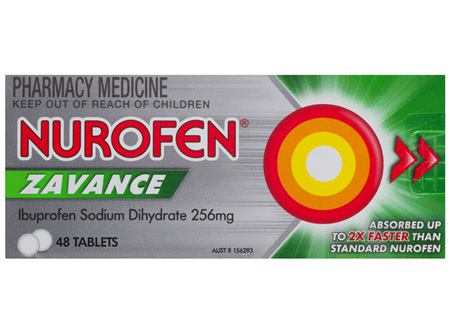 Nurofen Zavance Fast Pain Relief Tablets 256mg Ibuprofen 48 pack