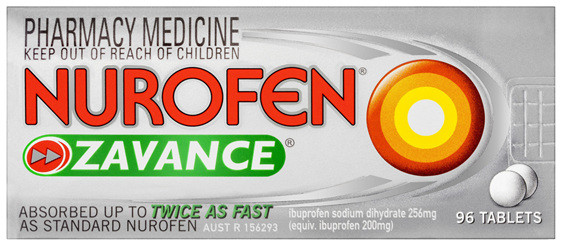 Nurofen Zavance Fast Pain Relief Tablets 256mg Ibuprofen 96 pack