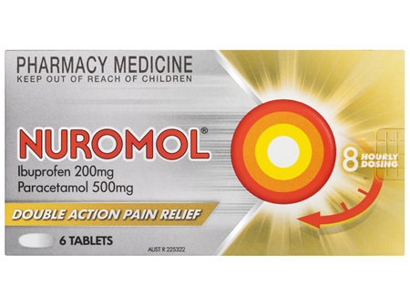 Nuromol 200mg Strong Pain Relief Tablets Ibuprofen/500mg Paracetamol 6 pack