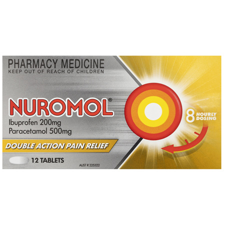 Nuromol 200mg Strong Pain Relief Tablets Ibuprofen/500mg Paracetamol 12 pack
