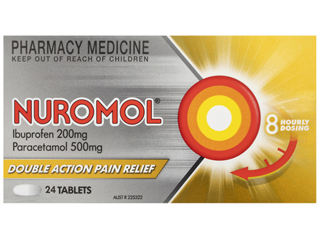 Nuromol 200mg Strong Pain Relief Tablets Ibuprofen/500mg paracetamol 24 pack