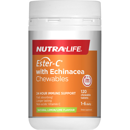 NUTRA-LIFE Ester C 500mg Echinacea Chew 120
