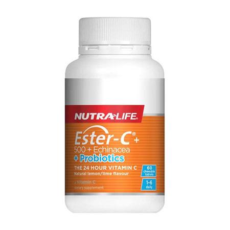 NUTRA-LIFE Ester C Echinacea & Probiotic Chew 90T