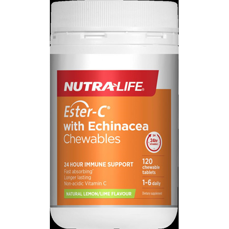 Nutralife ESTER-C with ECHINACEA chewables Lemon Lime 120s