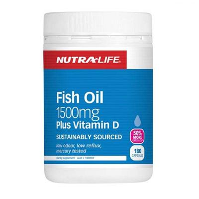 Nutralife Fish Oil 1500mg + Vitamin D Capsules 180's