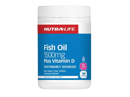Nutralife Omega 3 Fish Oil 1500mg plus Vit. D 180 Caps