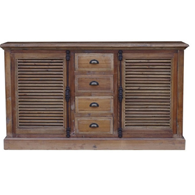 Old Pine Buffet w 4 Drawers & 2 Doors
