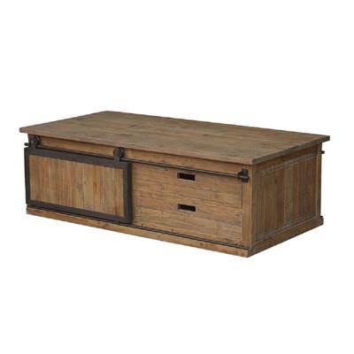 Old Pine/Iron Coffee Table w Sliding Door