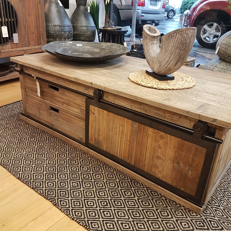 Old Pine/Iron Coffee Table w Sliding Door