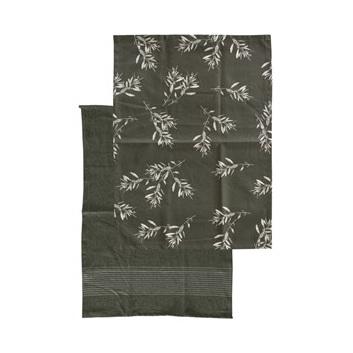 Olive Grove Tea Towel 2 Pack - Olive Green