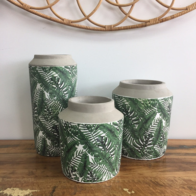 Ondine Cement Vase - Tropical Pattern