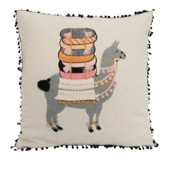 One Llama Cushion - Saffron Pink & Grey 45x45cm
