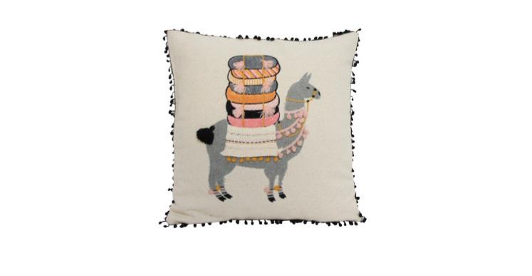 One Llama Cushion - Saffron Pink & Grey 45x45cm