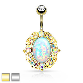 Opal AB Crystal Navel Bar