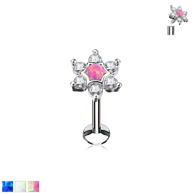 Opal Centred CZ Star Top Internally Threaded Labret