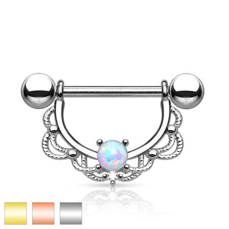 Opal Filigree Drop Nipple Bar